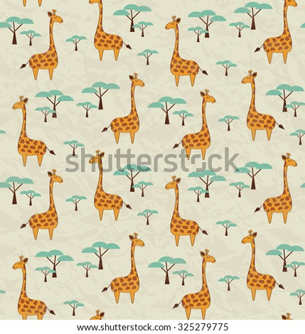 Seamless pattern with cute giraffes and trees, vector illustration - stock vector