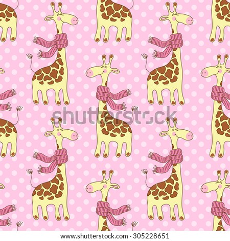 Seamless pattern with cute giraffes with scarves - stock vector