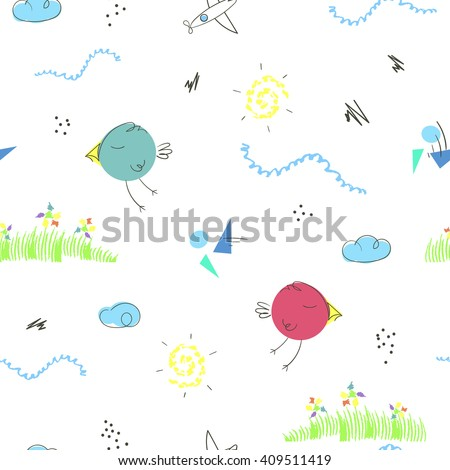 Seamless pattern with cute hand drawn cartoons of summer landscape. Children vector background good for kid's room, clothes, toys, cards, wrapping - stock vector