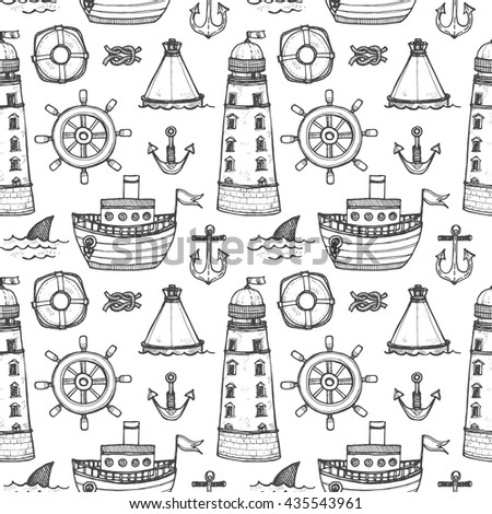 Seamless pattern with cute hand drawn elements of marine theme including ship, anchors and others. Hand drawn marine collection