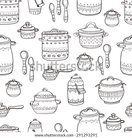 Seamless pattern with cute hand drawn ornate kitchen pans and spoons. Doodles outline collection. Vector