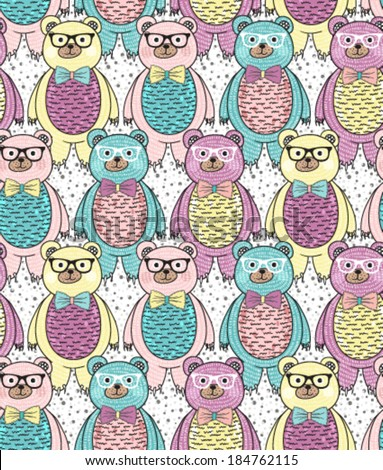 Seamless pattern with cute hipster bears for children or kids. - stock vector