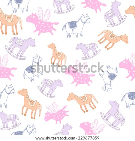 Seamless pattern with cute horses.  - stock vector