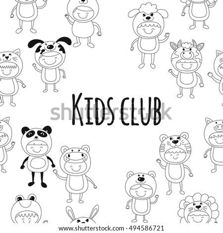 Seamless pattern with cute kids wearing animal costumes