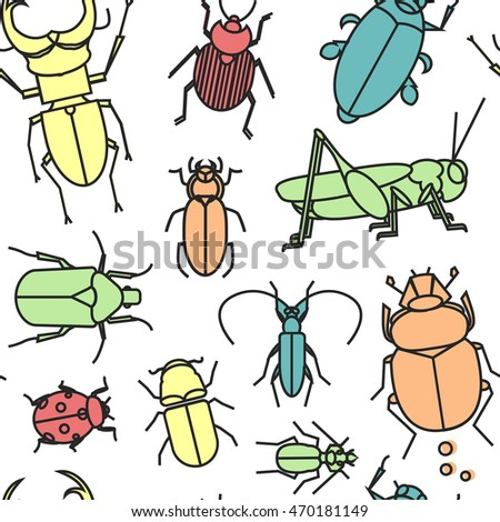 Seamless pattern with cute linear bugs and insects. Grasshopper, ladybug, scarab, stag beetle and other insects.