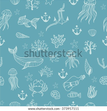 Seamless pattern with cute linear marine animals and plants drawn by hand. Vector illustration