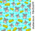 seamless pattern with cute mice and slices of cheese - stock vector
