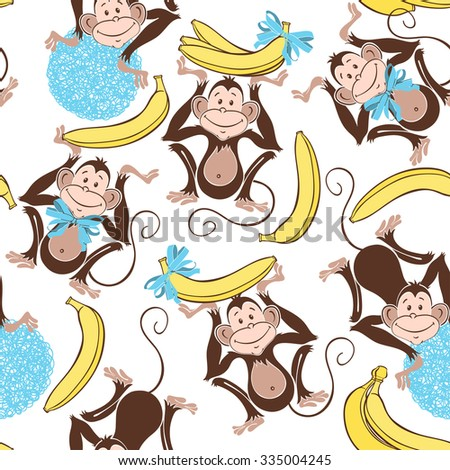 Seamless pattern with cute  monkeys and bananas. Cartoon vector background. - stock vector