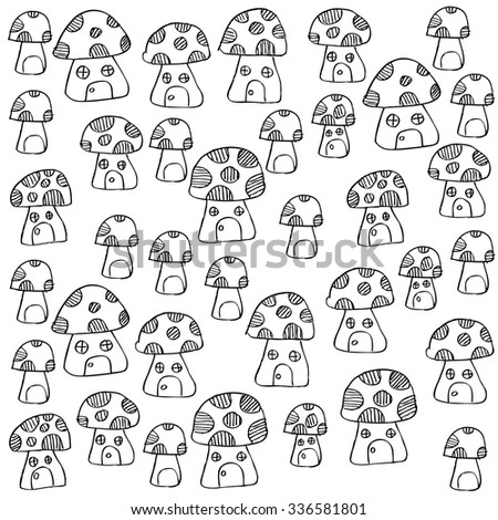 Seamless pattern with cute mushrooms. Mushrooms as a house