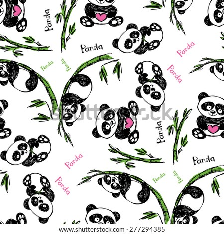 Seamless pattern  with cute panda. Hand drawing .Seamless pattern can be used for wallpaper, pattern fills, web page backgrounds, surface textures. - stock vector