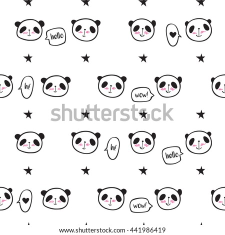 Seamless pattern with cute pandas, speech bubbles and stars. Wrapping paper, cloth. Sketch, doodles, design elements. Hand drawing. Vector.