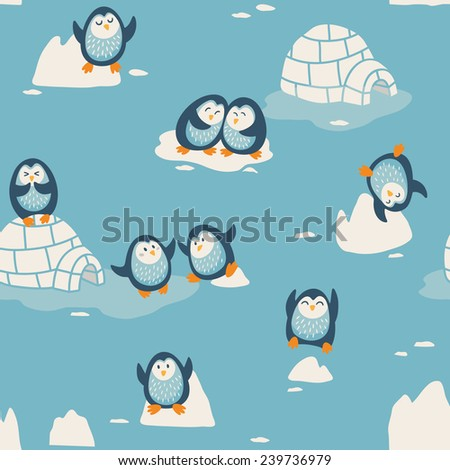 Seamless pattern with cute penguins - stock vector