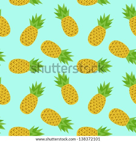seamless pattern with cute pineapples 1   stock vector