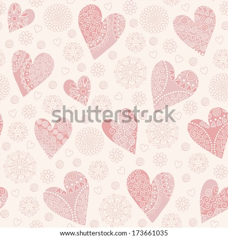 Seamless pattern with cute pink patterned hearts and contour flowers. Vector background.
