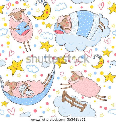 Seamless pattern with cute pink sheep sleeping on a cloud surrounded by stars and hearts. - stock vector