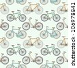 Seamless pattern with cute retro bikes - stock vector