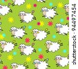 seamless pattern with cute sheep, beautiful vector illustration - stock vector