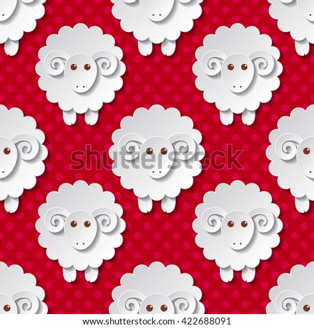 Seamless pattern with cute sheep in flat style - stock vector