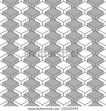 Seamless pattern with 3-D effect cubes in perspective. Variant 01 Black line on white background. This vector illustration clip-art web design elements save in 8 eps - stock vector