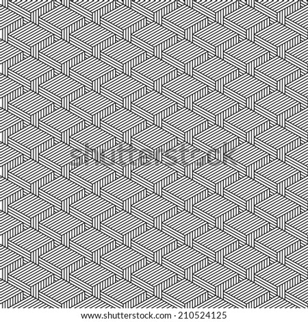 Seamless pattern with 3-D effect cubes in perspective. Variant 02 Black line on white background. This vector illustration clip-art web design elements save in 8 eps - stock vector