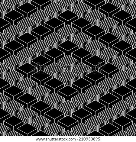 Seamless pattern with 3-D effect cubes in perspective. Variant 05 White line on black background. Graphic vector illustration clip-art web design elements save in 8 eps - stock vector
