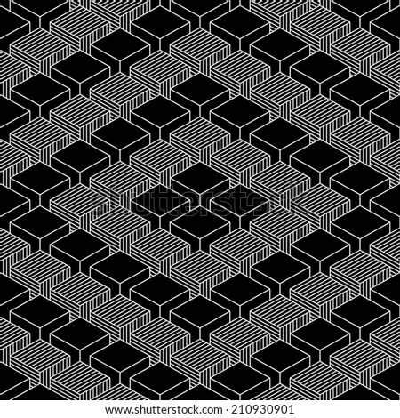 Seamless pattern with 3-D effect cubes in perspective. Variant 03 White line on black background. Graphic vector illustration clip-art web design elements save in 8 eps - stock vector