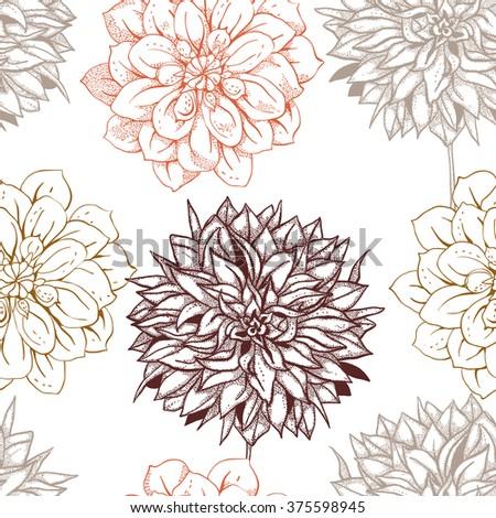 Seamless pattern with dahlias, Line Art - stock vector