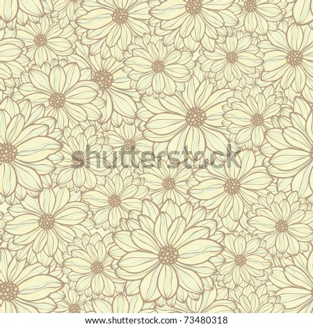 seamless pattern with daisies, vector - stock vector