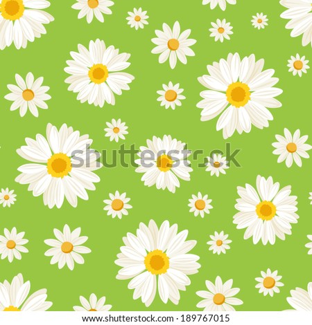 Seamless pattern with daisy flowers on green. Vector illustration. - stock vector