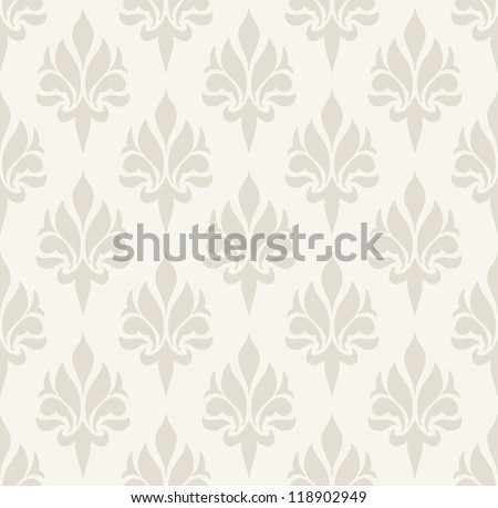 Seamless pattern with damask design. Beige, light, simple. - stock vector