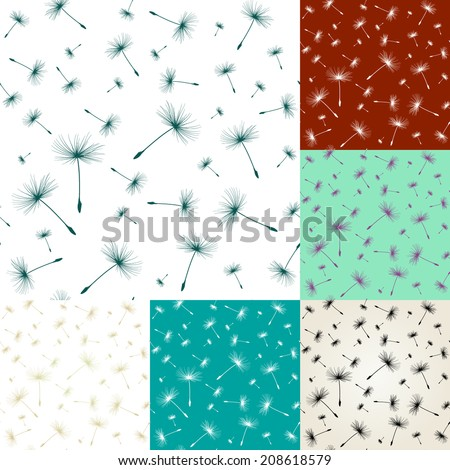 seamless pattern with dandelion seeds - stock vector