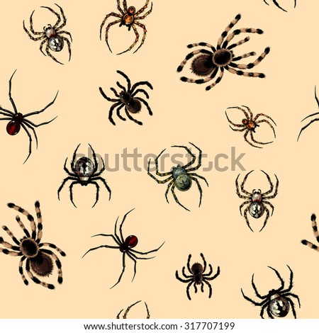 Seamless pattern with dangerous realistic spiders - stock vector