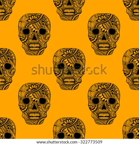 Seamless pattern with Decorate Skull painted ornament black  on orange for decorated clothes or party of Halloween or different things - stock vector