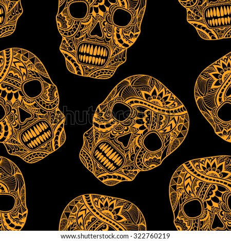 Seamless pattern with Decorate Skull painted ornament orange on black  for decorated clothes or party of Halloween or different things - stock vector