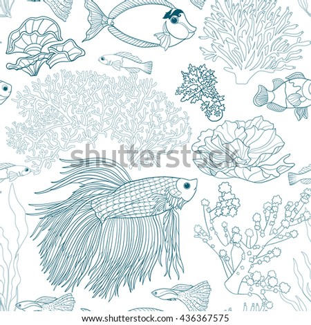 Seamless pattern with decorative corals and sea or aquarium fish. Vector illustration. Outline drawing. - stock vector