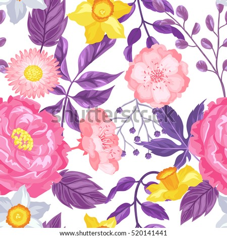 Seamless pattern with decorative delicate flowers. Easy to use for backdrop, textile, wrapping paper, wallpaper.