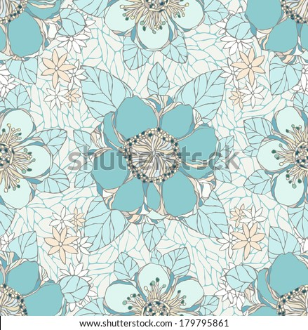 Seamless pattern with decorative flowers. Vintage wallpaper. Vector illustration. Natural ornament. - stock vector