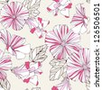 Seamless pattern with decorative  hibiscus flowers. Vector delicate background. - stock photo