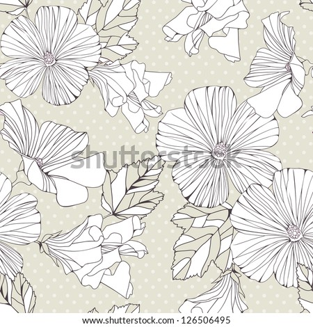 Seamless pattern with decorative  hibiscus flowers. Vintage vector background
