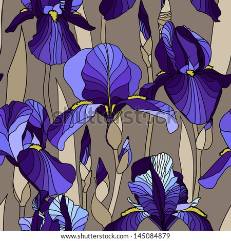 Seamless pattern with decorative lilac  iris flower in blue retro colors. Vector background. - stock vector