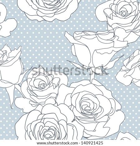 Seamless  pattern with decorative roses flowers in retro colors. Vector illustration. - stock vector