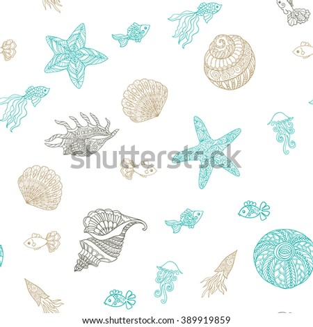 Seamless pattern with decorative sea shells and waves in boho style. Vector illustration