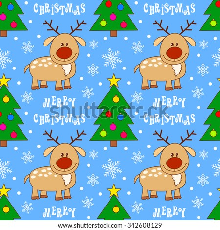 Seamless pattern with deer. Christmas vector illustration