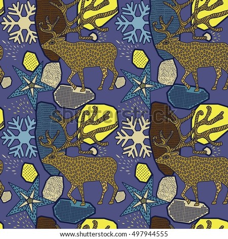 Seamless pattern with Deer. Winter holidays vintage seamless,