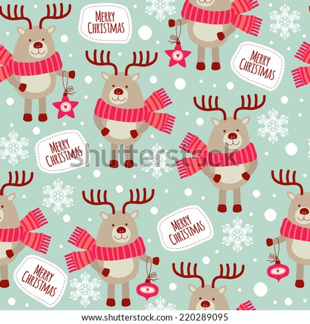 seamless pattern with deers and snowflakes. Merry Christmas! - stock vector