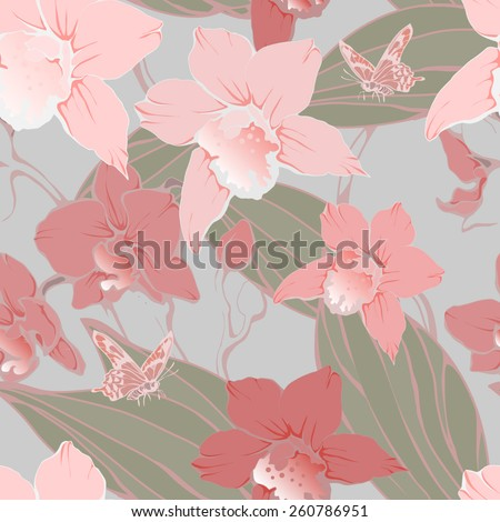 Seamless pattern with delicate orchids. vector illustration - stock vector