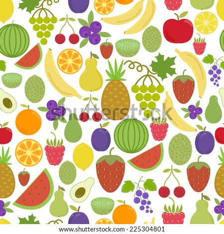 stock vector seamless pattern with delicious fruits strawberry cherry banana lemon grape plum pineapple 225304801 - Каталог — Фотообои «Еда, фрукты, для кухни»