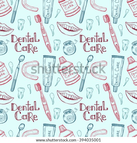 Seamless pattern with dental care tools. Vector hand drawn dental collection - stock vector