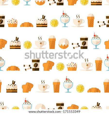 Seamless pattern with dessert and drinks for textiles, interior design, for book design, website background. - stock vector