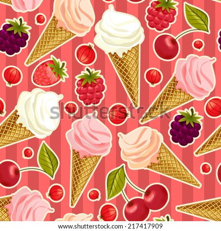 Seamless pattern with desserts and berries.